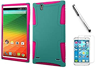 Huawei Pronto LTE H891L case Huawei Vision 3 LTE case Luckiefind Rubberized Slim Dual Layer Hybrid Cover Case Stylus Pen & Screen Protector Accessory  Hybrid Teal