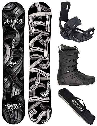 AIRTRACKS Snowboard Set - Tabla Twisted Wide 158 - Fijaciones Master - Softboots Savage Black 44 - SB Bag