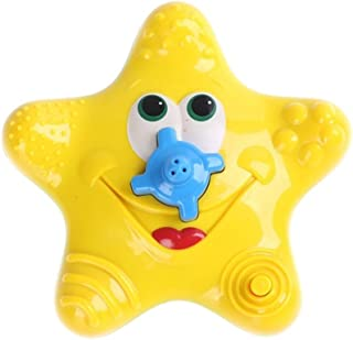 NUOLUX Baby Bath Toy Sea Star Spraying Fountain Electronic Rotating Water Star Style Bathtime Toy (Yellow)