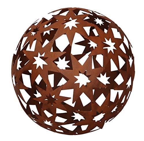 Posiwio dekorative Stern-Kugel Deko-Kugel Garten-Kugel Metall Rostbraun 18,5 cm