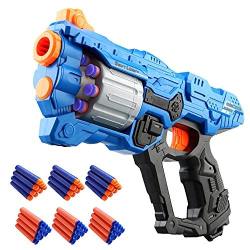 Kinder Pistole für Nerf Gun Pfeilen, Spielzeug Waffe mit 8 Schuss Rotationstrommel, Schaumtoffpfeile Spielzeug Gewehr mit 60 Softdarts Schießspiel Geburtstag Weihnachten Geschenk Jungs 6 Jahre+