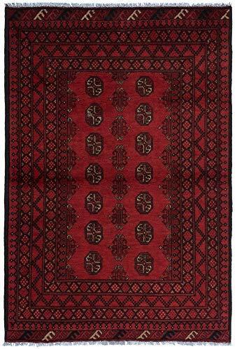 Handgefertigter roter Aqcha-Teppich, traditionelles Design, Größe: 179 x 120 cm