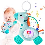 Musical Teething Baby Toy with Teethers, Soothing Musics, Soft Light & Color Rattle, Washable Plush Infant Toy with Hook for Crib, Stroller, Carseat, Sensory Toy, Special Item for Baby Mother (Deer)