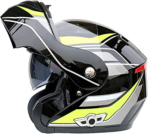 YCRCTC Casco modular con Bluetooth, con certificación DOT/ECE, con doble visera antivaho, para motociclistas, adultos, cuatro estaciones (color : H, tamaño: L)