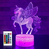 SETIFUNI Unicorn Gifts Unicorn Toys Kids Night Light 16 Colors Changing with Remote 3D Optical Illusion Bedside Lamp as Christmas Gifts Birthday Gifts for Girls