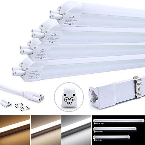Auralum 4 x LED Leuchtstofflampe Tageslichtweiß, T5 G5 90CM 12W 1100LM Röhre Leuchtstoffröhre mit Fassung, für Tandem-Betrieb geeignet
