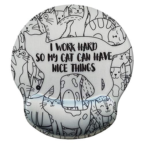 Eleville Ergonomic Mouse Pad I Work Hard So My Cat Can Have Nice Things Funny Saying Memory Foam Wrist Rest Lycra Cloth Top and Non-Slip Base Cute Fashionable Design for Gaming Office Home emp3
