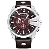 Curren Men Watches Top Brand Luxury Gold Male Fashion Leather Strap Outdoor Casual Sport Wristwatch with Big Dial (Silver Brown)