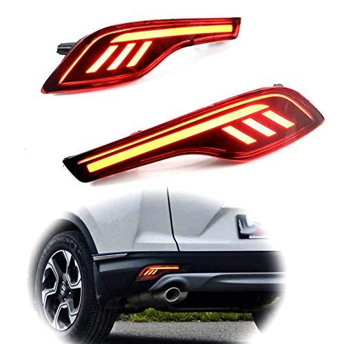 PGONE Red LED Rear Bumper Reflectors Fog Brake Tail Light Lamps Kit for 2017 2018 2019 Honda CRV...