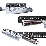 Kirosaku Premium Santoku Messer Damast 18cm - Enorm scharfes Santoku Japan Kochmesser aus hochwertigem Damaszener Stahl - Damastmesser Küchenmesser für ein fantastisches Schnitt Erlebnis - 2