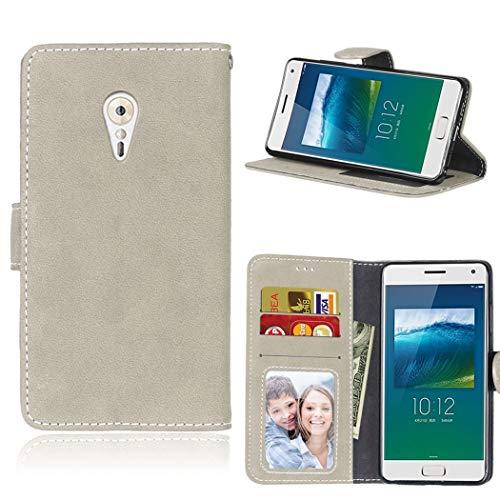 Ycloud Geldbörse Hülle für Lenovo ZUK Z2 Pro Smartphone, Matt Textur PU Leder Magnetisch Flip Handyhülle mit Standfunktion Kartenfächer Entwurf (Grau)