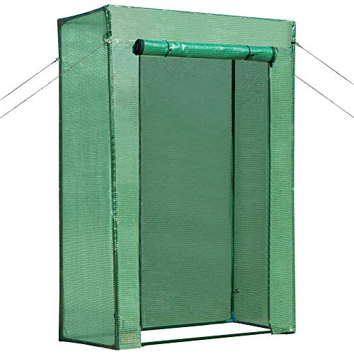 Outsunny Serra da Balcone Giardino per Piante e Orto, Struttura in Acciaio e Copertura in PE con Apertura Avvolgibile, 100x50x150cm