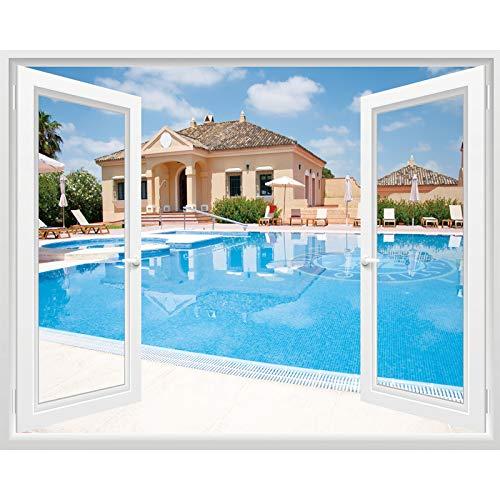 Wasserdichte Selbstklebende Falsche Fenster, Hintergrundwände, Wohnzimmer, Dekorative Wände, Dekorative Gemälde Auf Schlafzimmerwänden, Villa-Pool, Groß