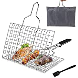 Pecco BBQ Grilling Basket, Foldable Stainless Steel Barbecue Grill Basket for Fish Vegetables Shrimp with Removable Handle, Basting Brush and Storage Bag 32x22cm