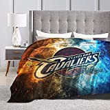 Tengyuntong Cleveland Basketball Sports Fleece Blanket Throw Size Lightweight Super Soft Cozy Warm Ca-Val-Iers ?Luxury Fluffy Flannel Microfiber Nap Bed Blanket for Sofa Couch All Seasons