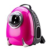 CLOVERPET Luxury Bubble Sporty Pet Carrier Travel Backpack for Cats Dogs Puppy,Rose