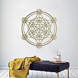 Calcomanía de pared redonda de círculo de geometría, pegatinas de pared extraíbles de línea geométrica de alquimia, murales de pared con patrón de mandala circular A2 42x42cm