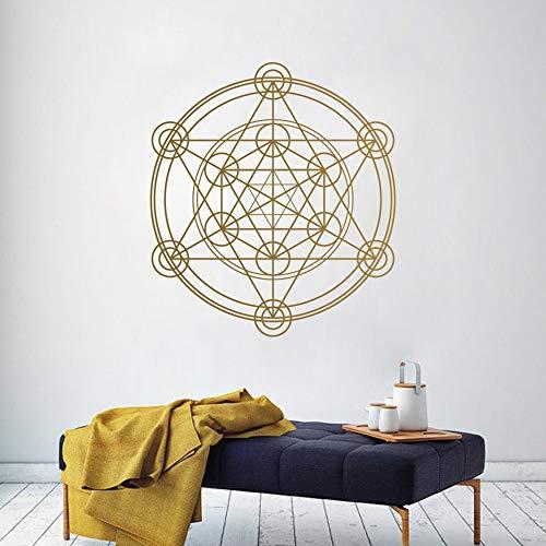 Geometría círculo redondo calcomanía de pared Alchemy línea geométrica extraíble pegatinas de pared Círculo Mandala patrón murales de pared A9 42 x 42 cm