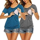 UNibelle Damen Stillshirt Kurzarm Schwangerschaft Mutterschaft T-Shirt Blaugrün & Grau S