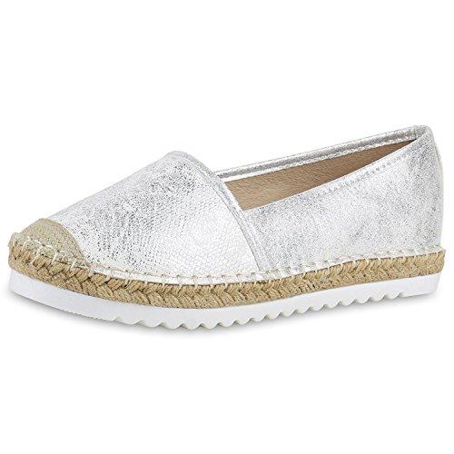 SCARPE VITA Damen Espadrilles Metallic Slipper Bast Profilsohle Flats Schuhe 160346 Silber Metallic 36