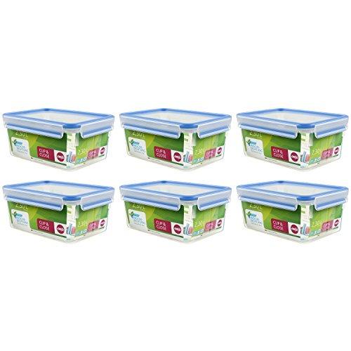 Emsa 508-544 Vorratsdose 2,3 L recht Clip&Close 3D Perf Clean, transparent (6er Pack)