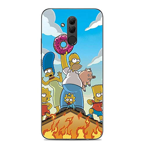 Fashiooppe Clear Silicone TPU Matte Anti-Shock Coque Cover Case for Huawei Mate 20 Lite-Funny-Bart Homer-Simpson Black 4