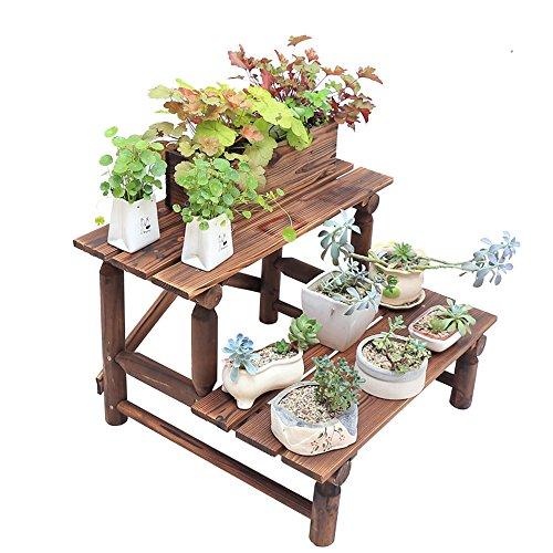 QFF Pare-chocs en bois extérieur anti-corrosion en bois, étagère en bois massif en bois massif, étagère en bois, en bois massif, échelle multi-couche, étagère à fleurs ( taille : 70*61*46cm )