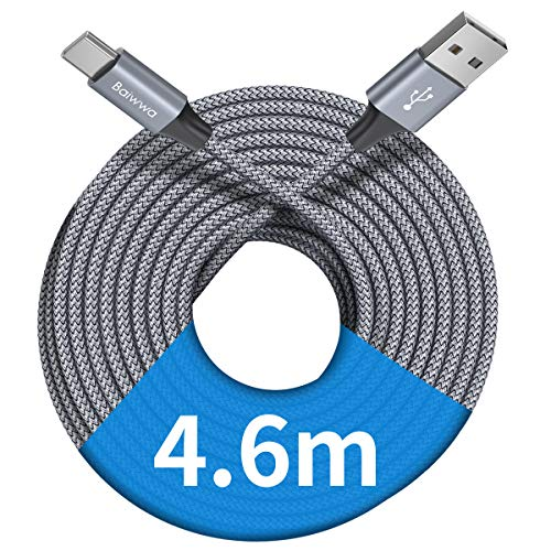 [ 4.6m/15ft ] Extra Long USB C Cable, Baiwwa Durable Nylon Braided USB A to Type C Phone Charging Fast Charger Cord Compatible with Samsung Galaxy S10 S20 S21 S9 Note 20 Plus,Moto,Sony,Google and More
