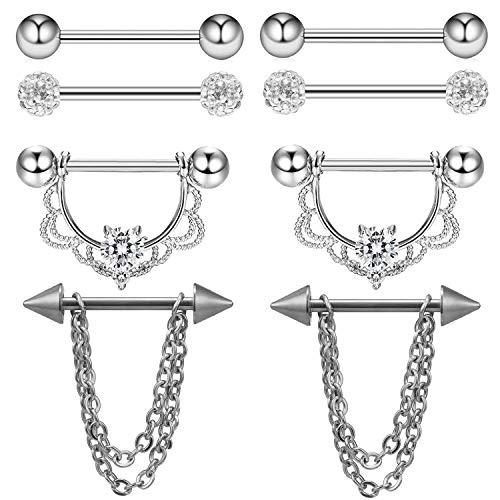 Nipplerings Piercing Femmes Acrylique mamelon Tongue Body Piercing Jewelry 6 pcs NEUF