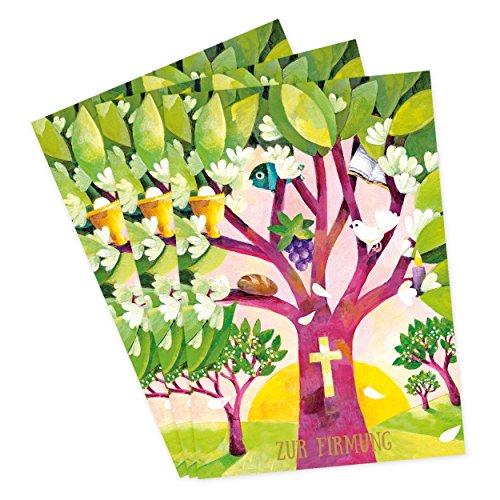 3er Set Glückwunschkarten zur Firmung mit Umschlägen, mit Baum, Fisch, Kelch, Trauben, Brot und Kreuz, Glückwunsch, Danksagung, Klappkarten, edel, christlich, bunt