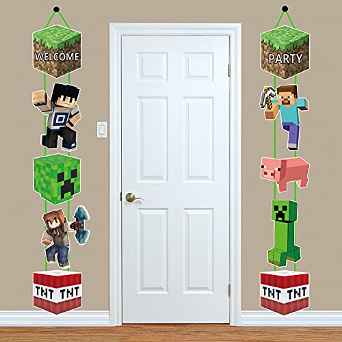 Pixel Style Miner Door Banner, Exquisitely Designed Pixel Door Hanging Banner for Outdoor Indoor Home Wall Decor, Pixel Mine_craft Banner Birthday Party Decorations(10 Pcs).