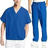 Cherokee Mens Workwear Scrub Set Medical/Dentist Uniform V-Neck Top & Cargo Pant (Royal, Medium)