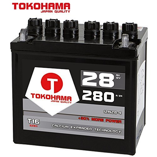 Tokohama Rasentraktor Batterie Aufsitzmäher 28Ah 12V +Pol Links ohne Säure statt 22Ah 24Ah 26Ah 12N24-4