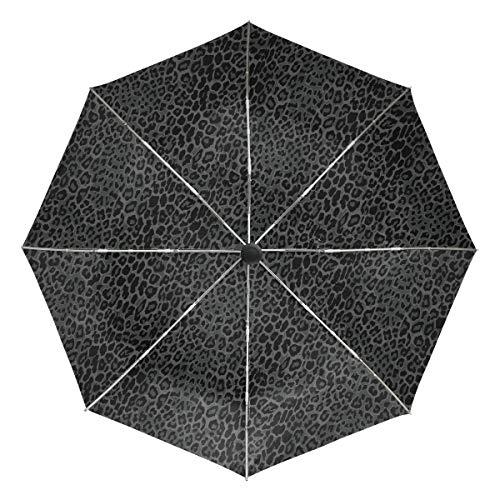 Paraguas de Viaje pequeño a Prueba de Viento al Aire Libre Lluvia Sol UV Auto Compacto 3 Pliegues Cubierta de Paraguas - Estampado de Leopardo Negro sin Costuras