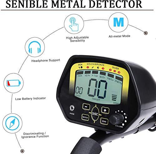 MARNUR Metal Detector Impermeabile Rilevatore di Metalli Multifunzionale Regolabile con Bobina di Ricerca, LCD Schermo, Le Cuffie, Pala Pieghevole e Luce a LED