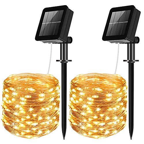 Solar Lichterkette Aussen,[2 Stück] 100 Leds Lichterkette Außen Solar 10Meter 8 Modus Außenlichterkette für Hochzeit, Party und Weihnachten, Garten Deko Gebäude Beleuchtung Aussen (Warmweiß)