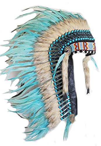 KARMABCN Native American Inspired Medium Feather Headdress (36 Inch Long)/War Bonnet