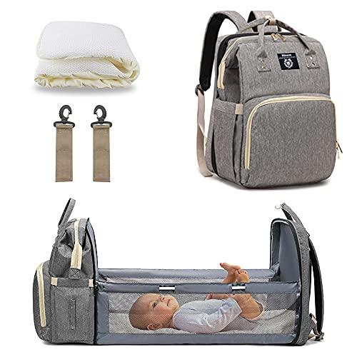 Milnsirk Mochilas Para Pañales, Multifuncional Impermeable Gran Capacidad Bolsa de Cambio de Bebé Bolsa de Viaje Casual Cama Plegable con Colchón Gris