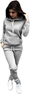 Women Jogger Outfit Matching Sweat Suits Long Sleeve Hooded Sweatshirt and Sweatpants 2 Piece Sports Sets Tracksuit