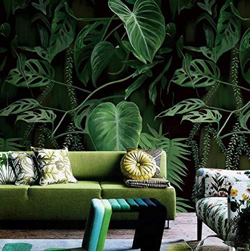 3D vliesbehang fotovlies premium fotobehang behang retro tropisch regenwoud palm banaanbladeren wandschilderij woonkamer restaurant creatieve achtergrond wandbekleding wooncultuur 350*245 350 x 245 cm.