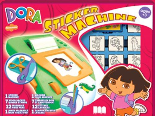 Multiprint 631 8828 - Dora, Windowbox - Stickermaschine, Stickermaschine, 7 Stempel, 12 Filzstifte, inklusive Stempelkissen und Malbuch.