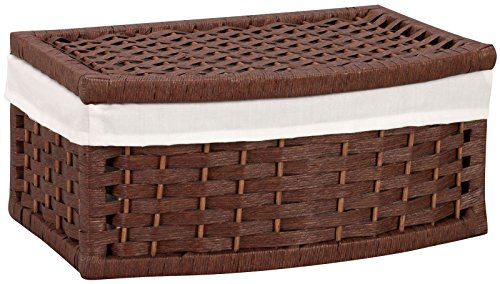 Household Essentials Hand-Woven Paper Rope Basket with Lid and Liner, Dark Brown Stain
