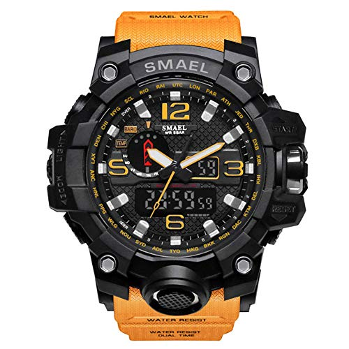 SMAELBand Männer Military Watch 50m wasserdichte Armbanduhr LED Quarzuhr Sportuhr Männliche Sportuhr Men S Shock,ORANGE
