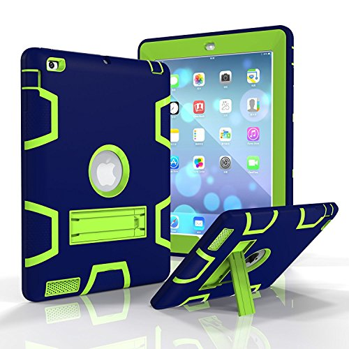 Tempo iPad 2/3/4 Silicone Plastic Protective Dual Layer Shock Absorbing Kids-Proof Case Built in Stand Designed for The Apple iPad 2/3/4(Navy+Grass Green)