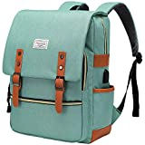 Modoker Vintage Laptop Backpack with USB Charging Port, Slim Laptop Backpack for Women Men Travel School College Teal Bookbag Fashion Rucksack Backpack Fits 15.6 Inch Notebook, Daypack Green