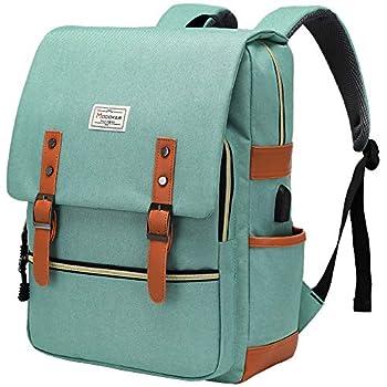 Modoker Womens Vintage Laptop Backpack with USB Charging Port Slim Laptop Backpack for Women Men Travel School College Teal Bookbag Fashion Rucksack Backpack Fits 15.6 Inch Notebook Daypack Green