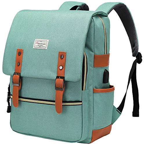 Modoker Womens Vintage Laptop Backpack with USB Charging Port, Slim Laptop Backpack for Women Men Travel School College Teal Bookbag Fashion Rucksack Backpack Fits 15.6 Inch Notebook, Daypack Green