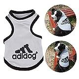 Haibuy Pet Adidog Perro Camiseta algodón Chaleco Verano Malla Chaleco Transpirable pequeño, Mediano, Grande Ropa para Perros S-8XL,(Gris)