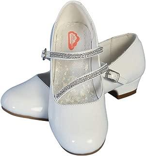 Girls White Patent Rhinestone Strap 1