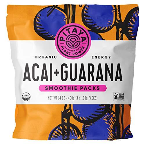 Pitaya Foods, Organic Acai + Guarana Frozen Packets, USDA Organic, Non-GMO, Earth Kosher, Grade A Acai + Guarana Puree, 32 x 3.5oz Packets Perfect for Acai Bowls, Loaded with Immunity Boosting Vitamin